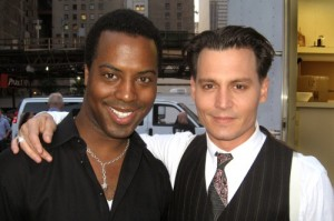 Samwell and Johnny Depp on the set of Public Enemies